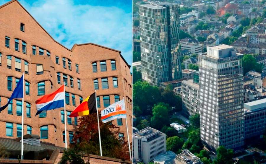 Zentralen der niederländischen ING Group in Amsterdam (links) und der BHF-Bank in Frankfurt