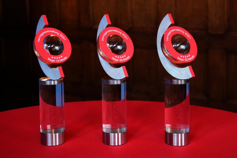 So sehen sie aus die Firstfive Awards 2021: Diese Trophäen warten auf die Gewinner der drei Kategorien.