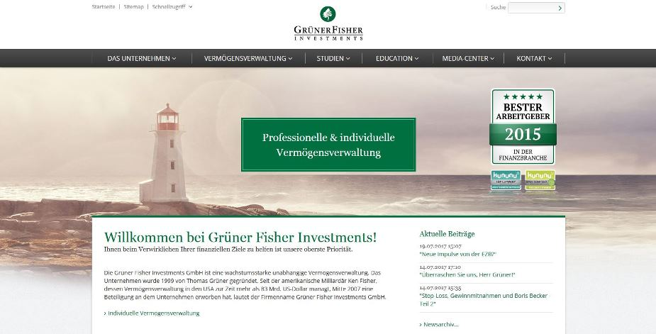 Screenshot der Webseite des Anbieters