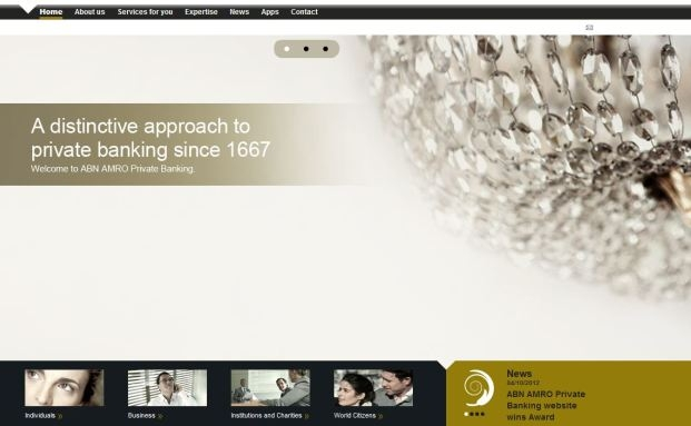 Screenshot der Sieger-Website ABN Amro Private Banking