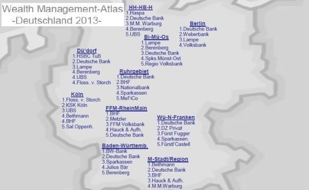 Der Wealth-Management-Atlas 2013 gibt Aufschluss über die Platzhirsche des Private Banking in den einzelnen Regionen