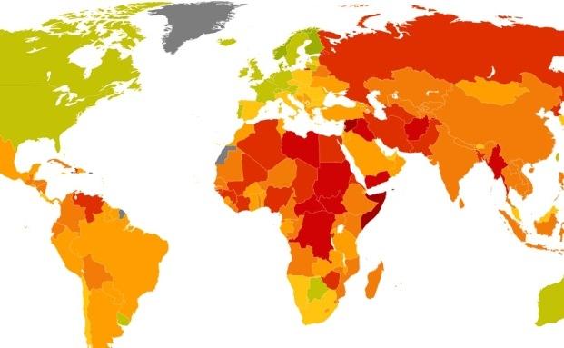 """Risiko für Investoren in 197 Ländern von""""niedrig"""" (grün) bis """"extrem"""" (rot)"""