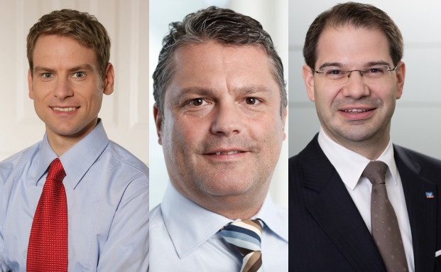 Patrick Schultz, Fondsanalyst bei Donner & Reuschel; Oliver Heller, Vorstand A/Ventum Family Office;Thorsten Keilich, Teamleiter Private Banking Kölner Bank  (von links) | © Foto: Biallas.de