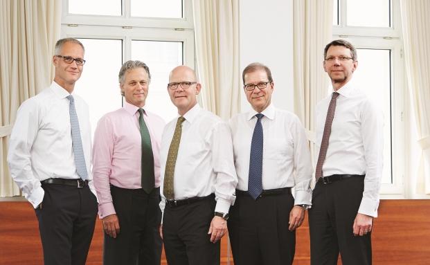 Von links nach rechts: Stephan Isenberg, Johannes Baratta, Horst Schmidt, Peter von Arx, Michael Arends|© Bethmann Bank