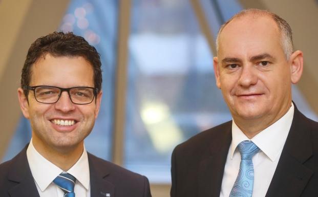 Vorstandsduo der Volksbank Lahr: Peter Rottenecker (links) und Reiner Richter. Letzerer verantwortet dabei das Private Banking