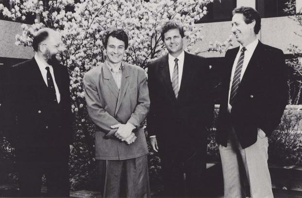 Die SAP-Gründer 1972 (v.l.n.r.): Klaus Tschira, Hasso Plattner, Dietmar Hopp, Hans-Werner Hector