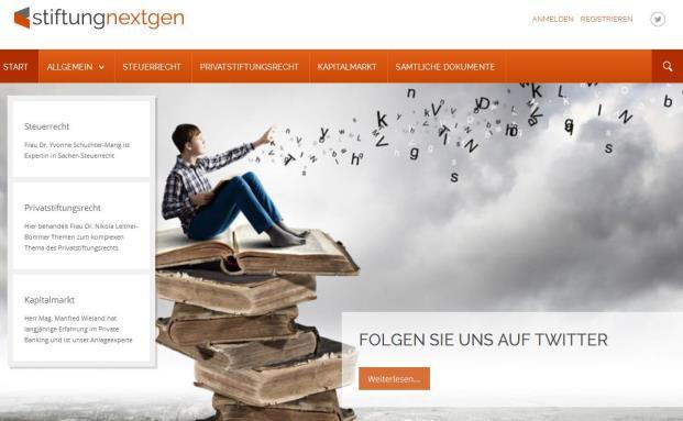 Die Website der neuen österreichischen Stiftungs-Plattform