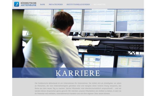 Auf dem Karriereportal der Süddeutschen Aktienbank finden sich derzeit zahlreiche Stellenausschreibungen