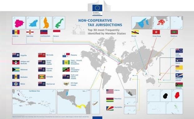 Von der EU-Kommission ausgemachte Steueroasen weltweit|© Europäische Kommission