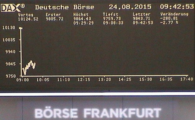 Live-Cam Deutsche Börse: Dax rauscht unter 10.000 Punkte