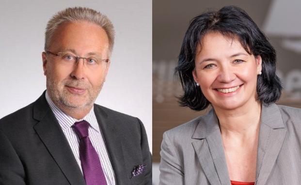 Hartmut Schäfer, Prokurist und Bereichsleiter Privatkunden der Raiffeisenbank Baunatal, und Margit Winkler, Expertin beim Institut Generationenberatung