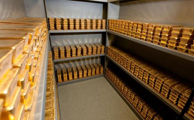 Ein Lagerraum für Goldbarren der Bundesbank