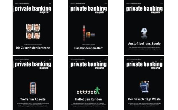 Auch ein Rückblick: Das waren die Cover der sechs 2015er Print-Ausgaben vom private banking magazin|© private banking magazin
