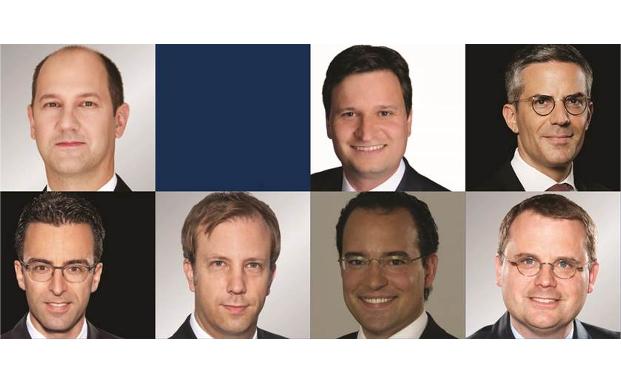 Obere Reihe (v.l.): Volker Bock, Michael Brellochs, Jens Kunz. Untere Reihe (v.l.): Daniel Rücker, Ingo Theusinger, Marco Tucci und Sebastian Wündisch|© Noerr