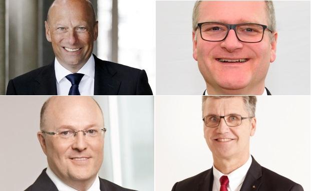 Vorstände im Gespräch: Holger Mai (Frankfurter Bankgesellschaft, v.l.), Stephan Kirchner (Sparkasse Bamberg), Georg Stocker (Dekabank) und Hubert Böddeker (Sparkasse Paderborn-Detmold)