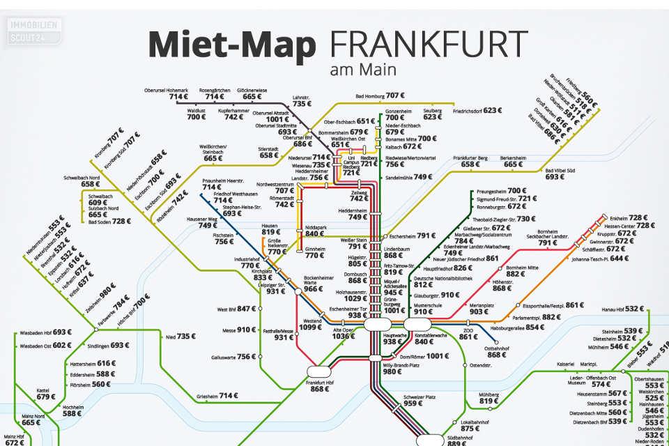 Miet-Map Frankfurt: In Frankfurt liegen preiswert und teuer nah beieinander