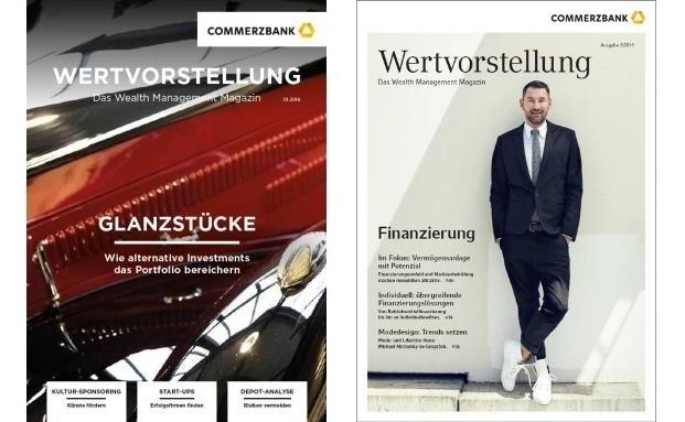 Das Cover des überarbeiteten Wealth-Management-Kundenmagazins der Commerzbank (li.) im Vergleich zum früheren Design|© Commerzbank