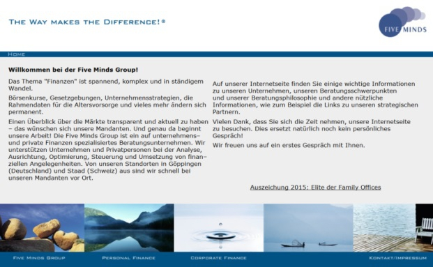 Noch aufrufbar: die Website der Five Minds Financial Partnership