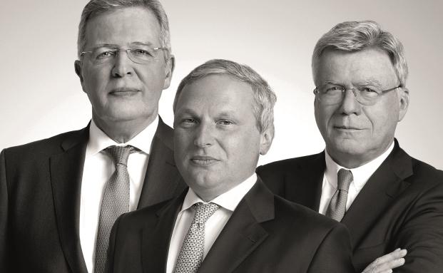 Die Gesellschafter des Bankhauses Lampe (v.l.) Werner Albert Schuster, Nicolas Blanchard und Stephan Schüller