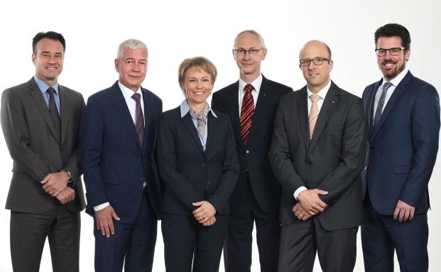 Die neue Acrevis Geschäftsleitung: Christian Gentsch (v.l.), Hugo Loretini, Ursula Gomez, Stephan Weigelt, René Lichtensteiger, Michael Steiner