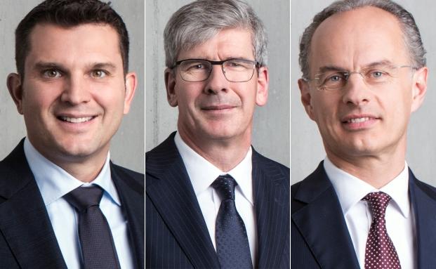 Drei der vier Mitglieder der künftigen NAB-Geschäftsleitung: Patrick Michelotti (v.l.), Hermann Roland und Roberto Belci.