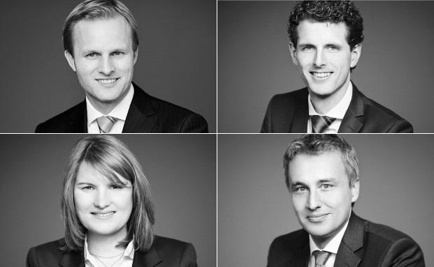 im Uhrzeigersinn, oben links startend: Dr. Patrick Maurenbrecher (li.), Kilian Kagel, Christian Piper und Ramona Golz