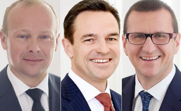 Der Leiter Private Banking International Herbert Lindner (li.), der Vorstandsvorsitzende Lucien J. Berlinger und ZKB-Investmentchef Christian Nemeth
