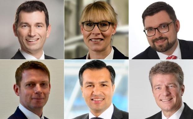 Mit mehr Verantwortung oder neue dabei unter den Wealth-Management-Leitern (von links oben nach rechts unten): Dirk Faustin, Tanja Sienitzki, Stefan Böhm-Wirt, Dirk Paliga, Nasim Amini und Marcus Bender