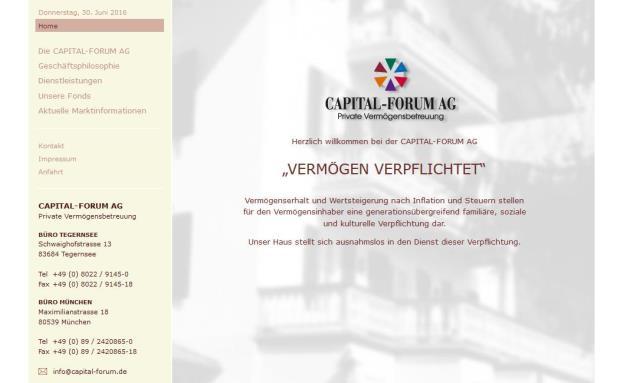 Aktueller Screenshot von der Homepage derCapital-Forum AB. Bald wird es keine Vermögensverwaltung und kein Büro mehr in München geben