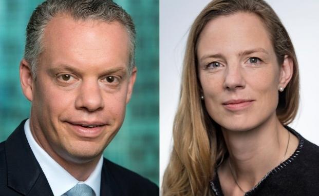 Der Vorstand der Credit Suisse Deutschland: Der operative Chef Björn Storim (li.) und die Vorstandsvorsitzende Helene von Roeder