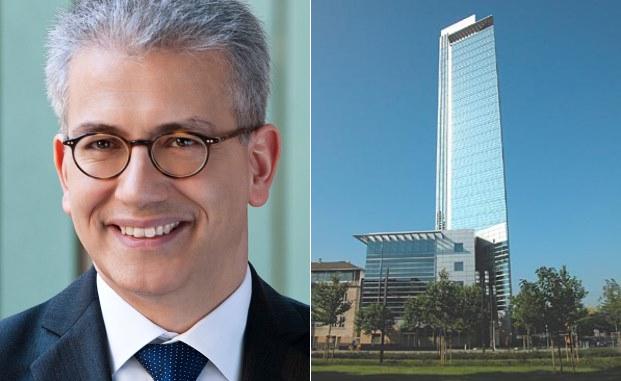 Hessens Wirtschaftsminister Tarek Al-Wazir will Frankfurt durch das Tech Quartier im Pollux-Hochhaus (rechts) zur internationalen Fintech-Hauptstadt machen