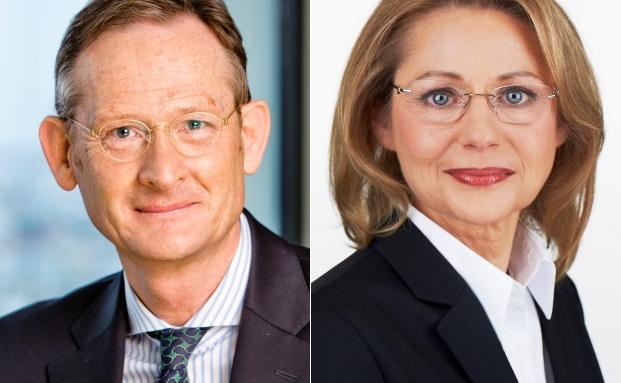 Jürgen Allerkamp (li.), Vorstandsvorsitzender der IBB und Berlins Wirtschaftssenatorin Cornelia Yzer
