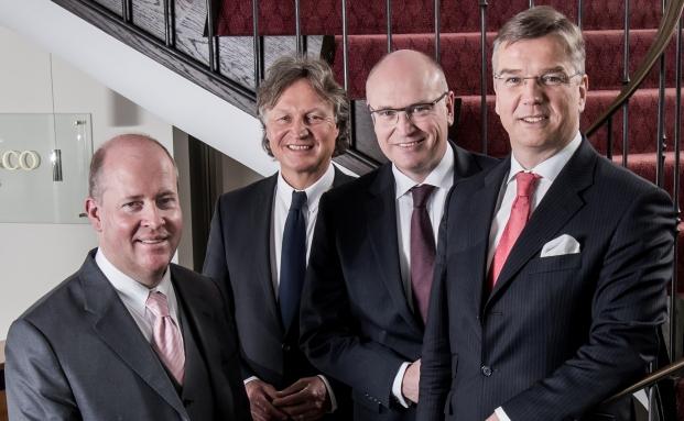 Bilden künftigen den Vorstand von Merck Finck Privatbankiers (v.l.n.r.): Udo Kröger, Michael Krume, Joachim Gorny und Thilo Wendenburg