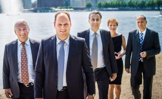 Die Führungsriege vom Tonn Family Office (v.l.n.r.): Jürgen Raeke, André Tonn, Holger Schroeder, Ines Hardt und Michael Funke