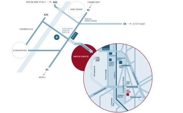 Anfahrtsskizze der BHF-Repräsentanz Baden-Baden