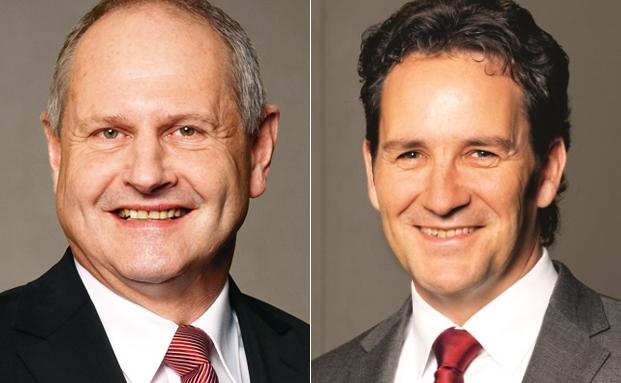 Präsident Kuno Kennel und der Vorsitzende der Geschäftsleitung Peter Hilfiker von der Schwyzer Kantonalbank