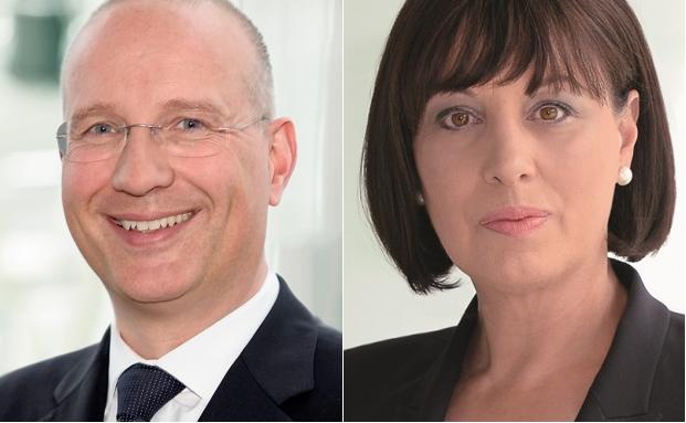 Der amtierende Vorstandsvorsitzende Arndt Hallmann (li.) und seine mögliche Nachfolgerin Vorstandsmitglied Karin-Brigitte Göbel