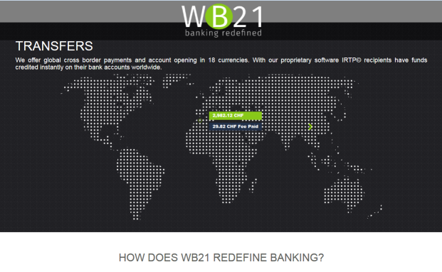 Screenshot der WB21-Internetpräsenz