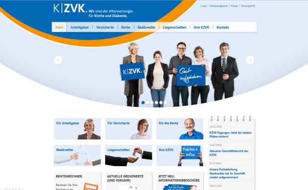 Screenshot der Webpräsenz der KZVK