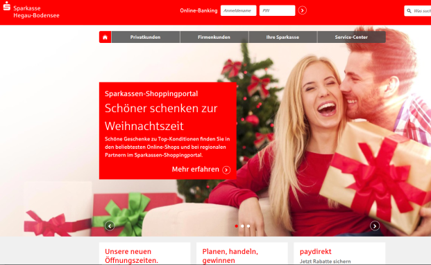 Screenshot der Webpräsenz der Sparkasse Hegau-Bodensee