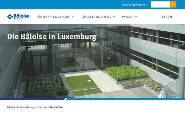 Screenshot der Webpräsenz von Bâloise Vie Luxembourg