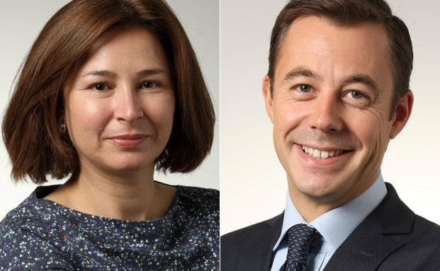 Diliana Deltcheva (li.), Leiterin Emerging Markets Debt und Fondsmanager Nicolas Forest, Leiter Fixed Income bei Candriam