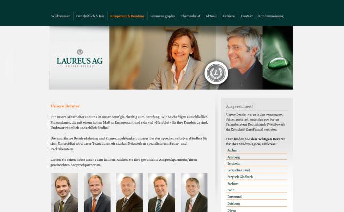 Screenshot der Webpräsenz von Laureus Privat Finanz