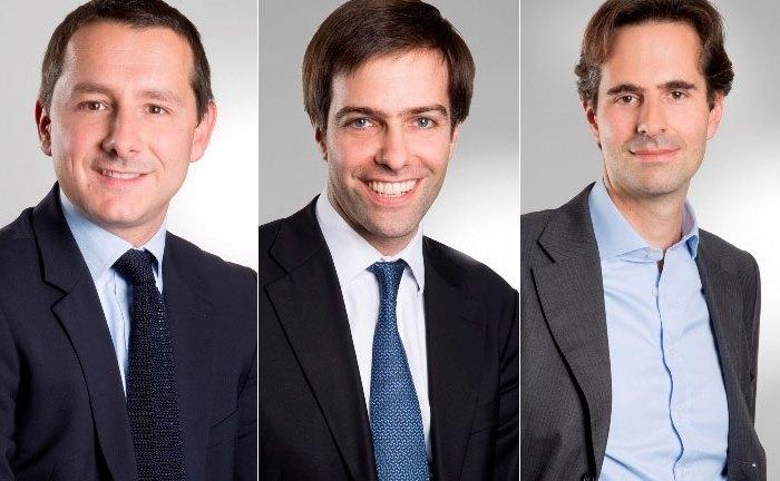 Das Portfoliomanagement: Maxime Botti (l.), Emmanuel Hauptmann (m.) und Thomas de Saint-Seine