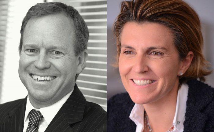 Stephen Fitzgerald (l.), Mitgründer von Affirmative IM und Carolina Minio-Paluello, Globale Leiterin Vertrieb bei Lombard Odier IM.