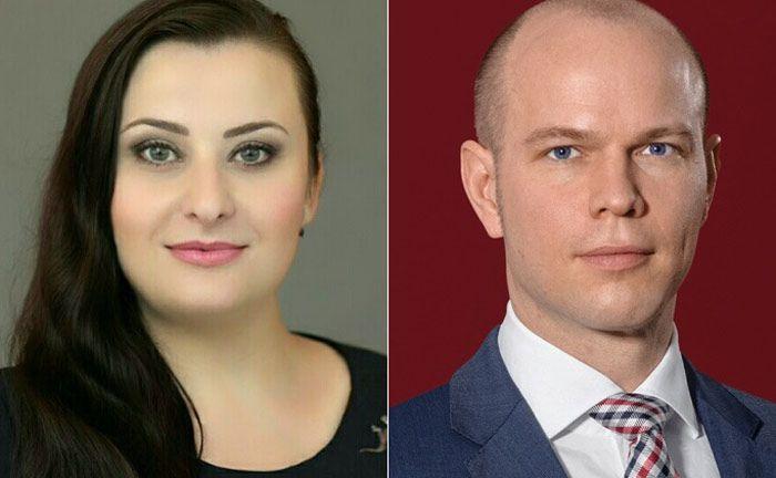 Angelina Pramova von der Fondsgesellschaft GAM (l.) und Timo Patrick Bernau von der Wirtschaftskanzlei GSK Stockmann + Kollegen