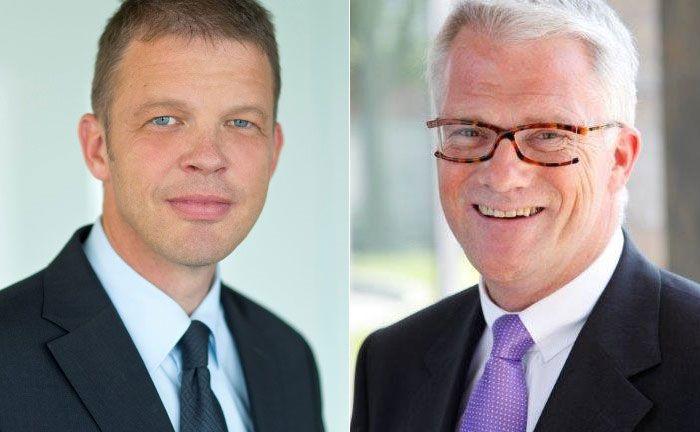 Christian Sewing (l.), Vorstand des Unternehmensbereich Private, Wealth & Commercial Clients, und Ulrich Christmann, Leiter Private Banking Deutschland