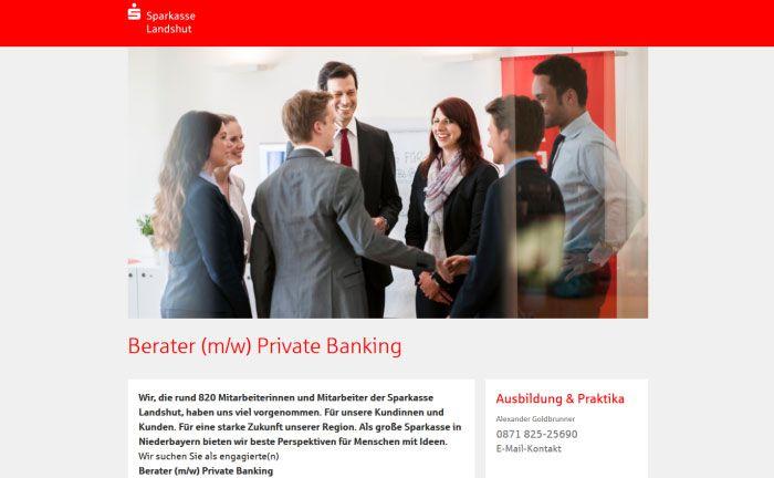 Screenshot der Homepage der Sparkasse Landshut