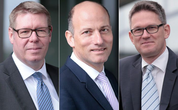 Uwe Buchem (l.) und Herwig Kinzler (r.) gehören zum Führungsteam der neu geschaffenen Wealth-Einheit von Mercer Deutschland. Die Leitung übernimmt Martin Haep.