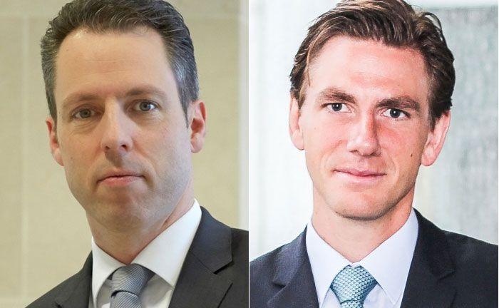 Der ehemalige Investmentchef des Wealth Managements der UBS Deutschland, Gerit Heinz (l.) und sein Nachfolger Maximilian Kunkel